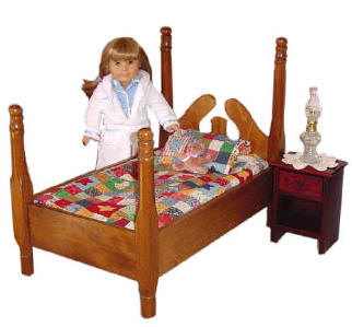 Four poster American Girl doll bed and bedding