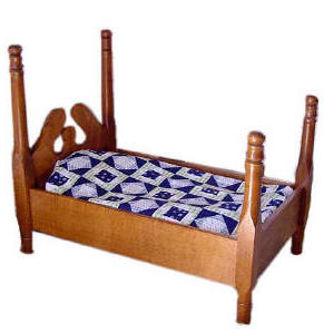 Wood bed with coverlet for american girl dolls