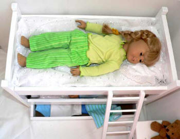 Doll size bunkbeds with trundle bed