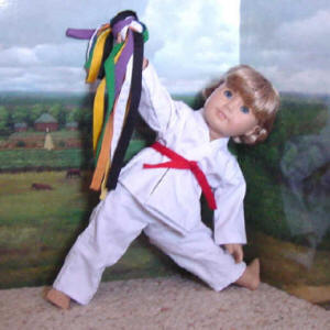 18 inch doll wearing a martial arts set