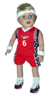 18 inch boy doll wearing red basketball clothes