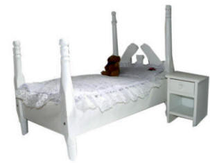 white 4-poster doll bed