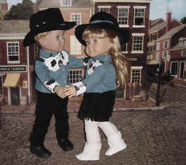 Girl doll and boy doll dancing