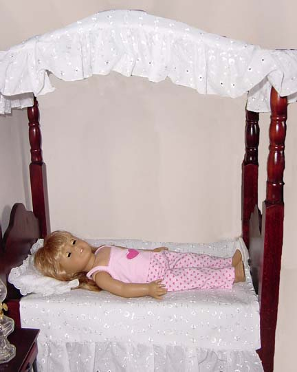 American Girl Dolls White Canopy bed & Doll Bedding: American Girl Doll Beds and Doll Furniture: 18 Inch ...