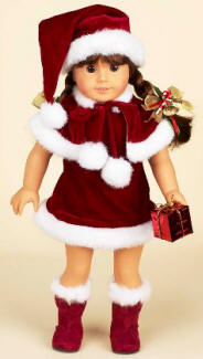 "Santas elf holiday doll costume fits American Girl & 18"" dolls"