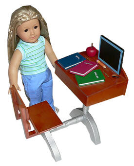 desk for dolls with accessories