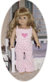 Pink PJs on an 18 Inch Doll