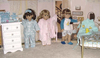 3 18 Inch Dolls dressed in Pajamas