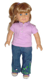 Kirsten american girl doll wearing Shirt and Jeans
