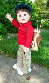 boy doll golfer and bag