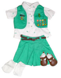 Junior Scout Uniform with Dolls Socks and Shoes