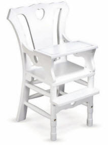 white doll high chair