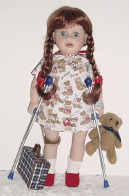 disabled doll getting ready for short hospital stay