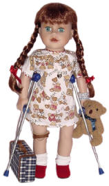 child with cancer but using doll for support