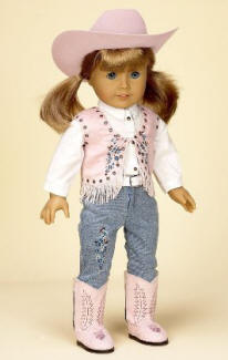 Pink western cowgirl doll outfit