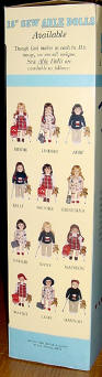 side panel of box showing all 12 dolls