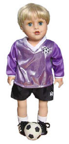 18 inch Doll in a Purple Soccer Outfit