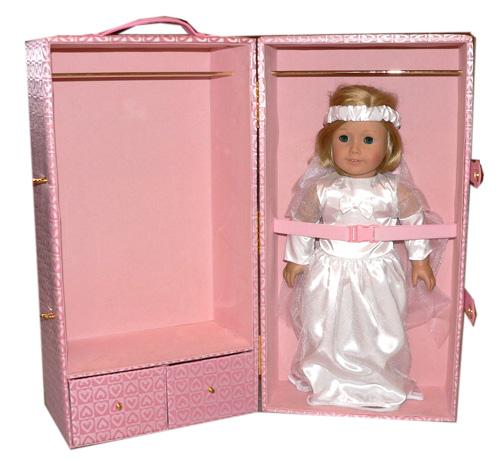 pink heart trunk fits american girl kit inside