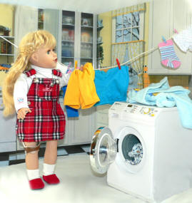 american girl dolls washing clothes